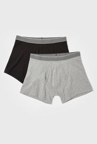 Set of 2 - Solid A-Front Boxers with Elasticated Waistband