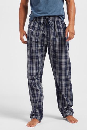 Checked Full-Length Pyjama with Drawstring Closure and Pockets
