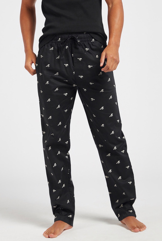 All-Over Checked Print Full Length Pyjamas with Drawstring Closure