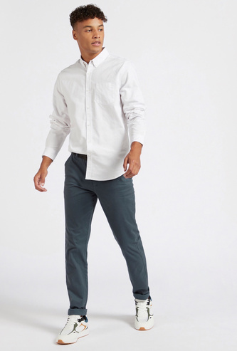 Solid Skinny Fit Chinos with Button Closure