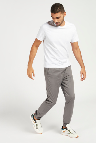 Solid Mid-Rise Jog Pants with Drawstring and Pockets