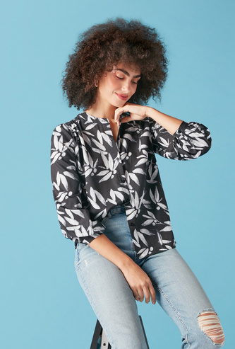 All-Over Floral Print Shirt with Long Sleeves and Mandarin Collar