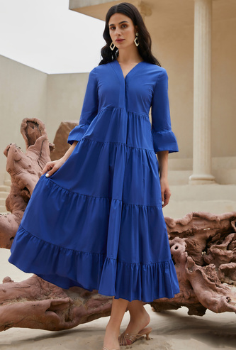 Solid Tiered Midi Dress with V-neck and 3/4 Sleeves
