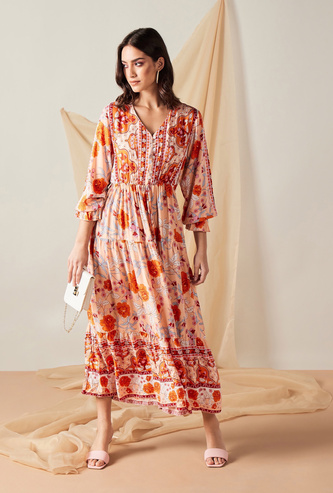 All-Over Floral Print Tiered Maxi Dress with Long Sleeves