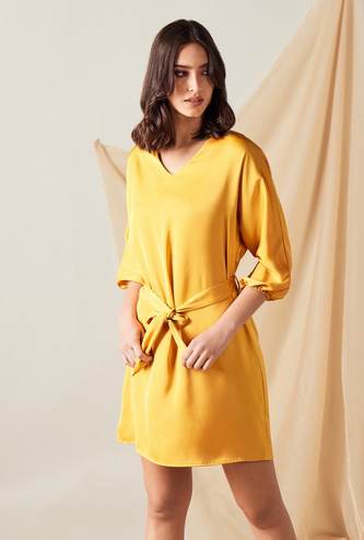 Solid Mini A-line Dress with Tie-Up Belt and 3/4 Sleeves