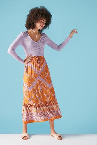 All-Over Print A-Line Midi Skirt with Elasticised Waistband