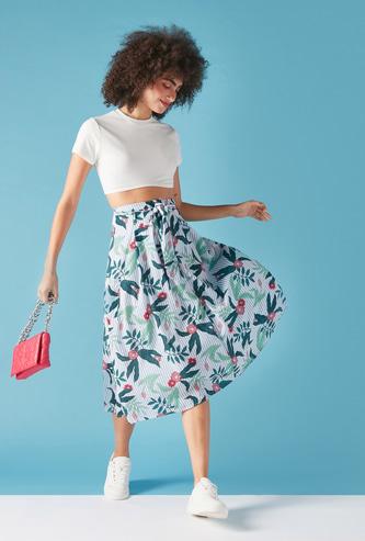 Leaf Print A-Line Midi Skirt with Elasticated Waistband