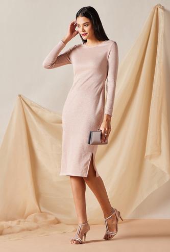 Textured Midi Dress with Round Neck