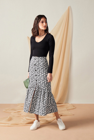 Floral Print Midi Skirt with Asymmetric Hem and Slit