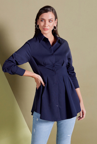 Solid Slim-Fit Top with Long Sleeves and Spread Collar