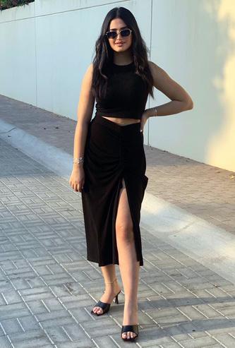 Printed Overlapped Midi Skirt