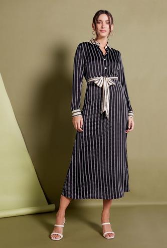فستان طويل إيه لاين مخطط بأكمام طويلة وأربطة