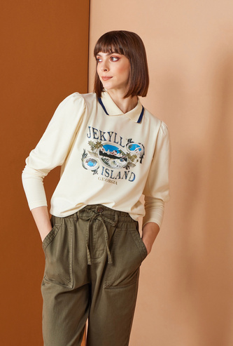 Printed Sweatshirt with Collared Neckline and Long Sleeves