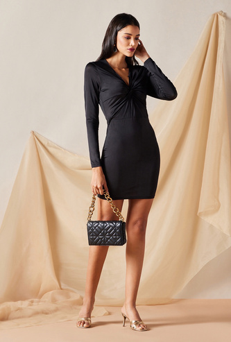 Knot Detail Dress with Long Sleeves