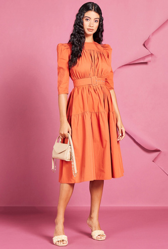 Solid Tiered Midi Dress with Belt and Button Closure