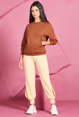 Solid High-Rise Joggers with Cuffed Hem and Elasticised Waistband