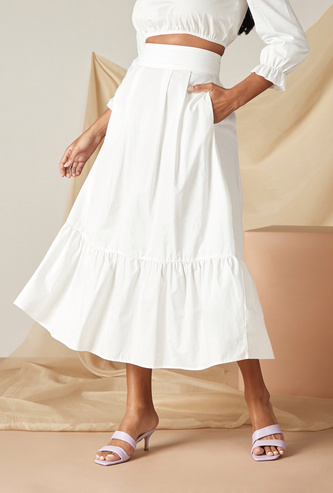Solid Maxi Tiered Skirt with Zip Closure and Pockets