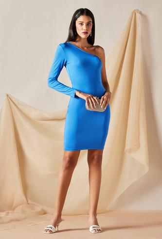 Solid One Shoulder Midi Dress