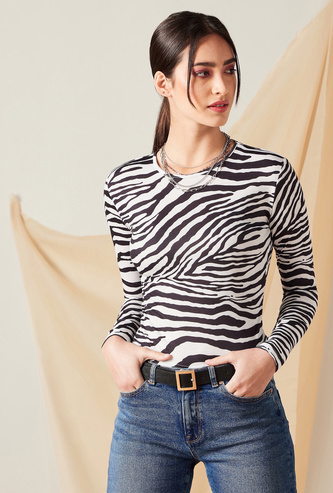 All-Over Printed T-shirt with Long Sleeves