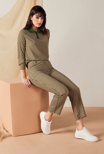 All-Over Printed Low Rise Pants with Pockets and Elasticated Waistband