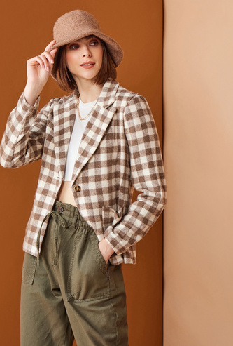 Checked Blazer with Long Sleeves and Pockets