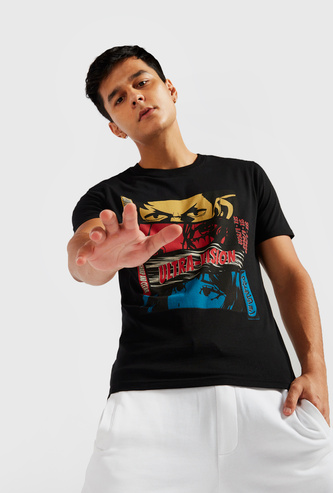 Anime Print Round Neck T-shirt with Short Sleeves