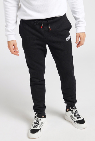 Slim Fit Textured Jog Pants with Pockets and Drawstring