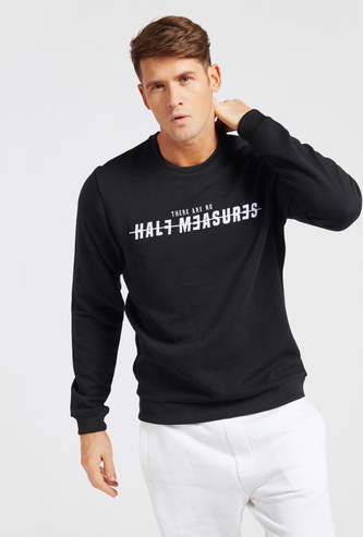 Textured Slim Fit Sweatshirt with Round Neck and Long Sleeves