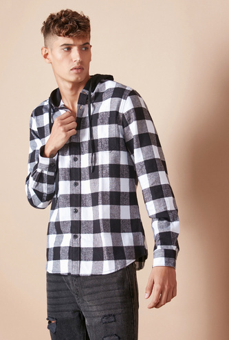 Checked Slim Fit Shirt with Long Sleeves and Hood