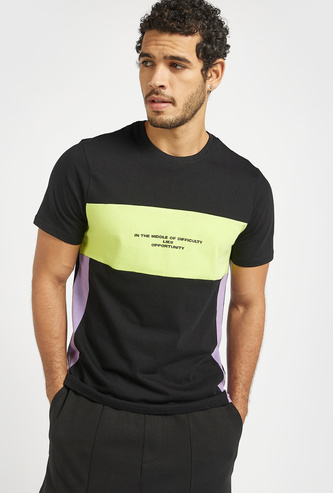 Slim Fit Text Print Panel Block T-shirt with Crew Neck