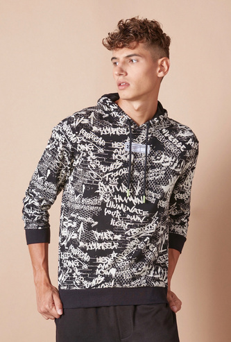 All-Over Graffiti Print Hoodie with Long Sleeves