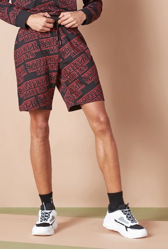 All-Over Stranger Things Printed Shorts with Drawstring Closure