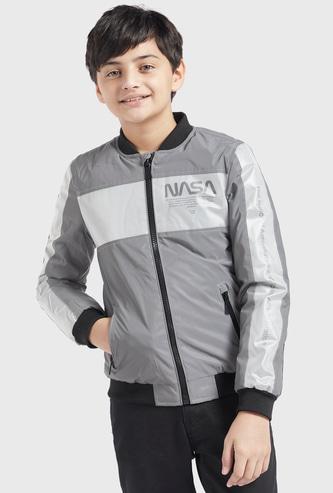NASA Print Reflective Bomber Jacket with Long Sleeves and Zip Closure
