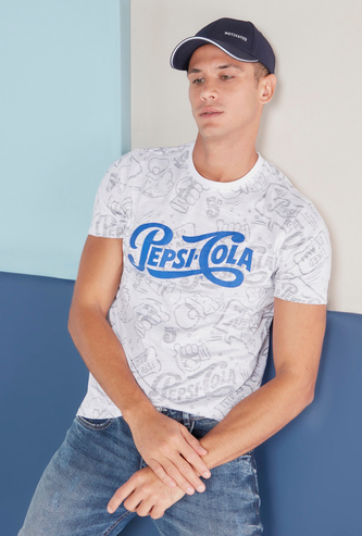 Pepsi Cola Graphic Print T-shirt with Short Sleeves