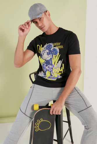 Mickey Mouse Print T-shirt with Crew Neck and Short Sleeves