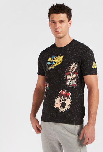 Looney Tunes Print T-shirt with Crew Neck and Short Sleeves