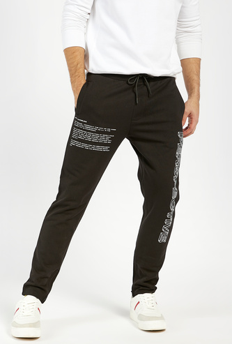 Typographic Print Slim Fit Jog Pants with Pockets and Drawstring Closure