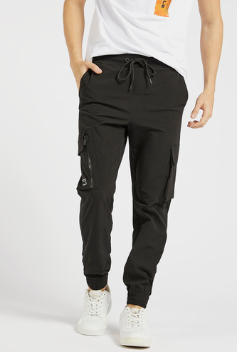Solid Slim Fit Joggers with Pockets