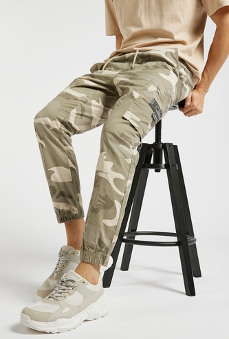 All-Over Camouflage Print Cargo Pants with Drawstring Closure