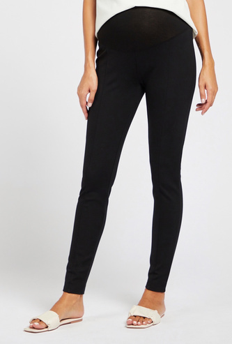 Solid Mid-Rise Full Length Maternity Leggings with Elasticated Waist