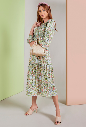 All-Over Floral Print Tiered Midi Dress with Long Sleeves