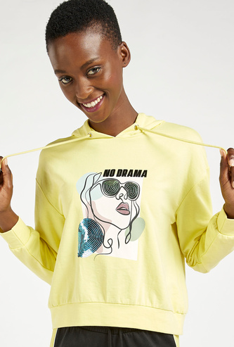 Graphic Print Sequin Embellished Hoodie with Long Sleeves