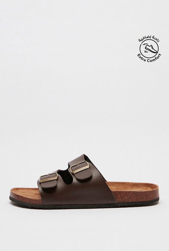 Buckle Accented Slip-On Sandals