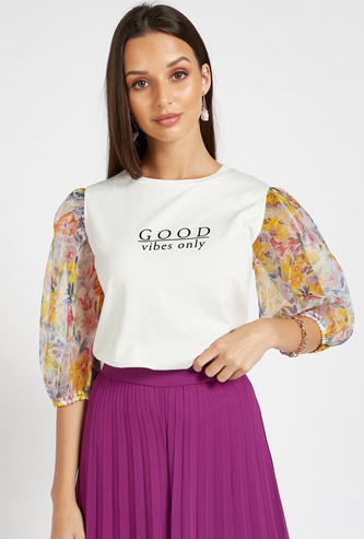 Printed Organza Sleeve Round Neck Knit Top