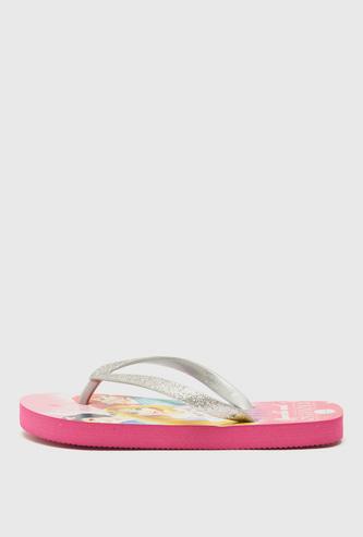 Princess Print Flip Flops with Glitter Accent Straps