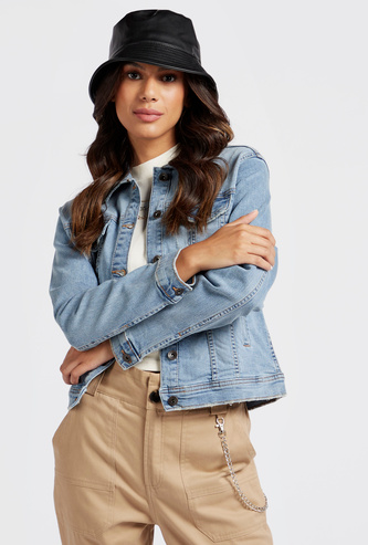 Solid Denim Jacket with Long Sleeves and Pockets