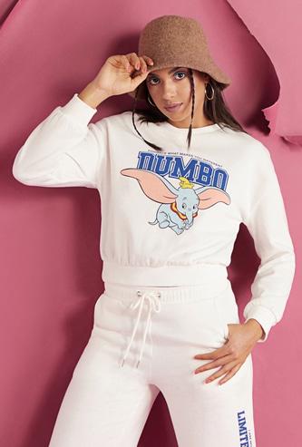 Dumbo Print Sweatshirt with Round Neck and Long Sleeves