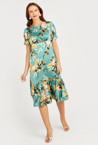 Floral Print A-Line Midi Dress with Short Sleeves
