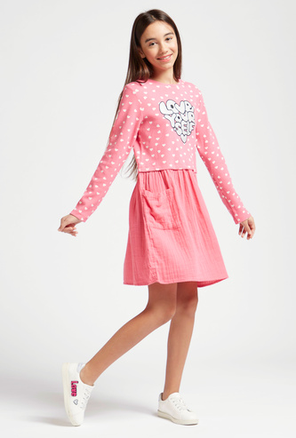 Heart Print Dress with Long Sleeves and Pocket Detail