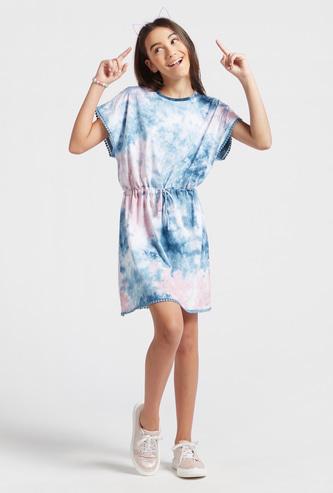 Tie-Dye Print Knee Length Kaftan with Cap Sleeves